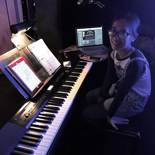 My show opens in 2 days! I often post pictures of my show rig, but this time I get to post the rig AND the music director! This is Mei and she's awesome, running my show like a champ. #turingtestmusical #keyboard #rig #musicaltheatre #electronica @thegalleryplayers