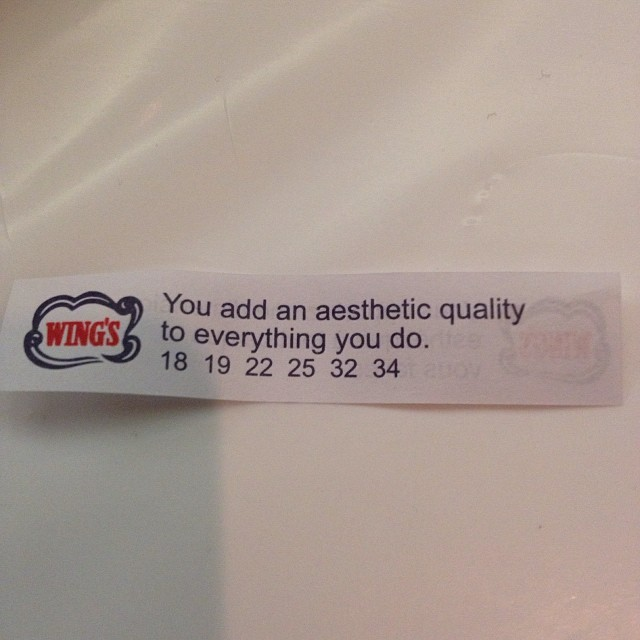I'm glad you think so, fortune cookie.