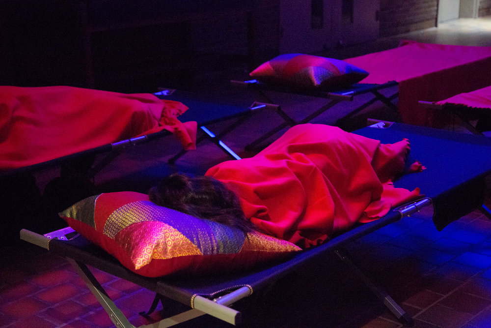 Sleeping guests at  Dream Variations , a collaboration with Abbas Akhavan for Nuit Blanche Toronto (2017).
