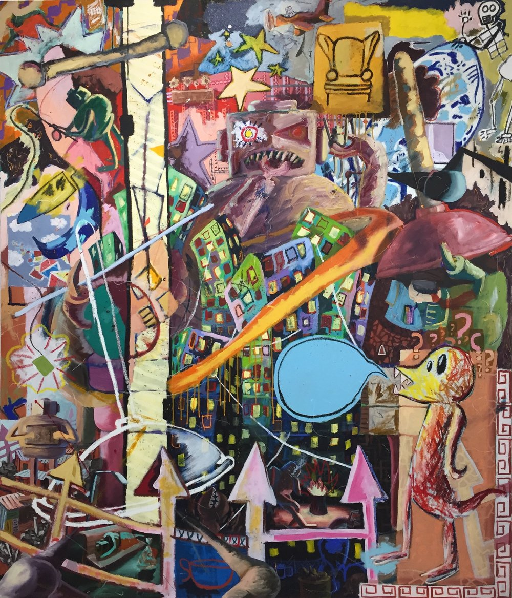 Colorful Commentary 1   Oil, Acrylic and Oil Stick on Canvas  84x72 inches  2016
