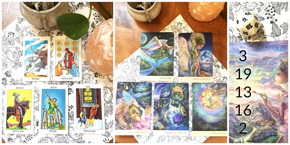 3 Reading Options; from left to right, Radiant Rider Waite Tarot, Nature's Whispers Oracle Cards, and the Willows East Dice System