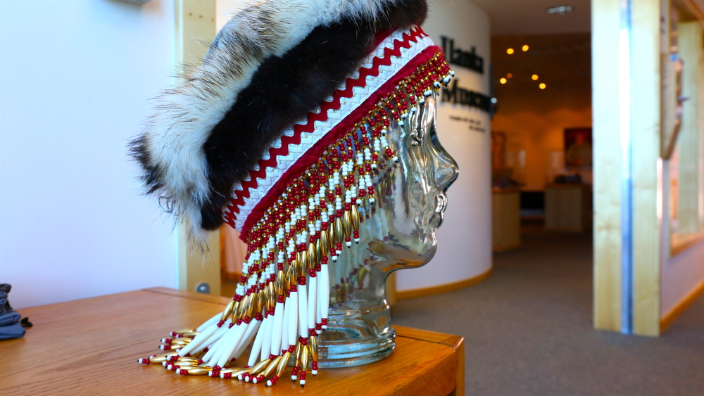 A handmade headdress by Jackie Ladd, the Elder Care Coordinator at the Native Village of Eyak