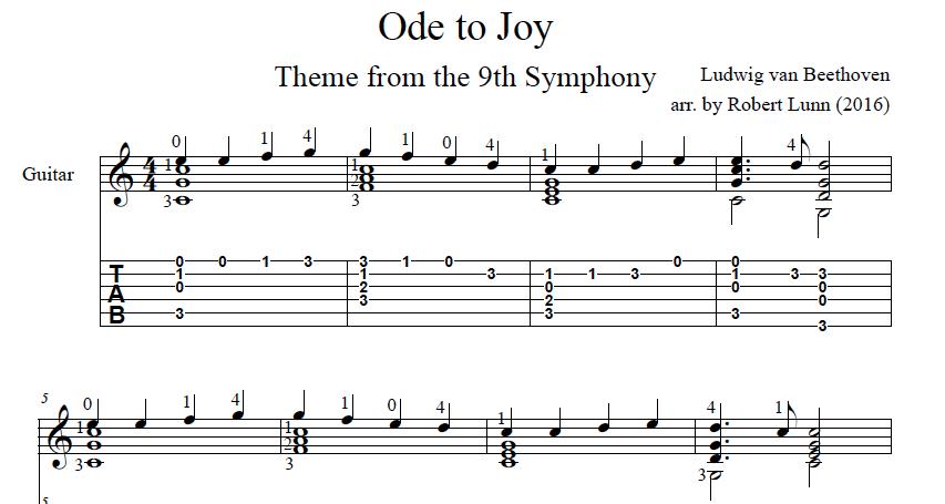 Ode to Joy (Beethoven) — Robert Lunn Composer/Guitarist