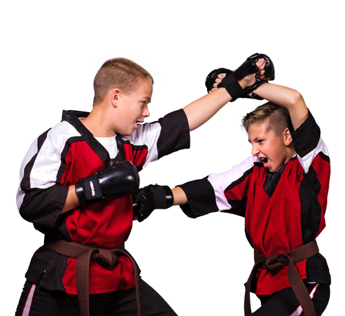 American Karate students practicing sparring for competition.