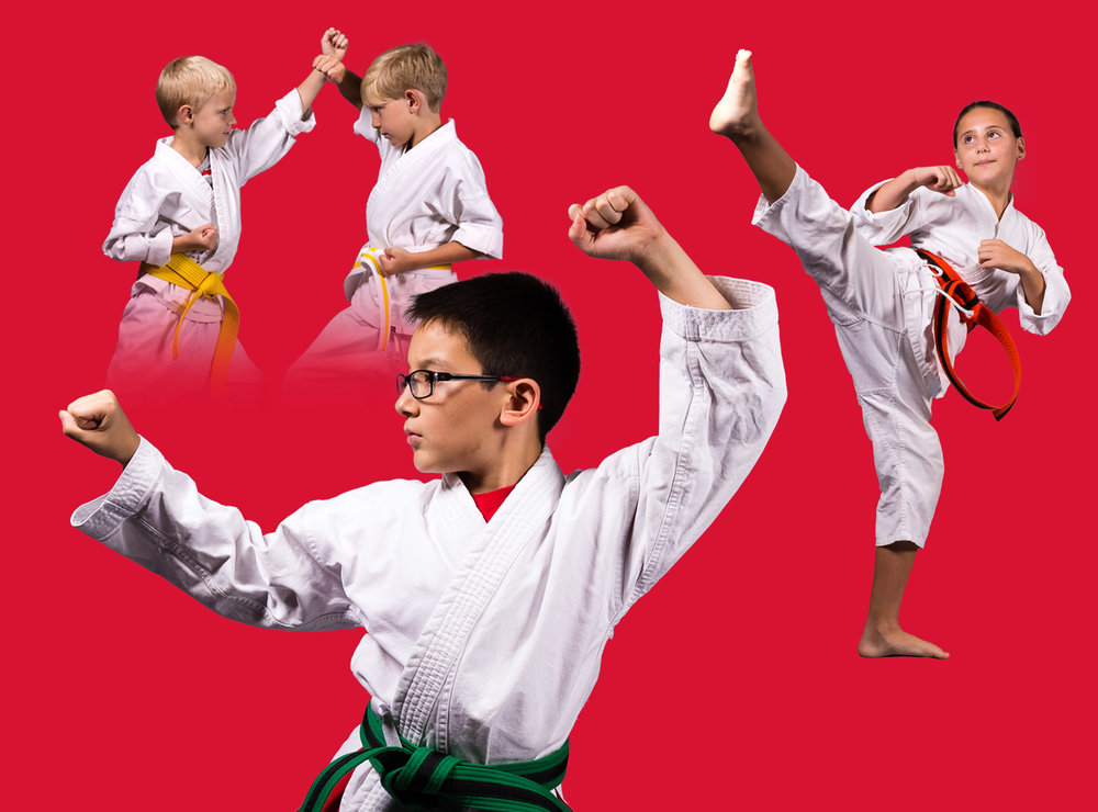 Students from the American Karate Youth Karate program.