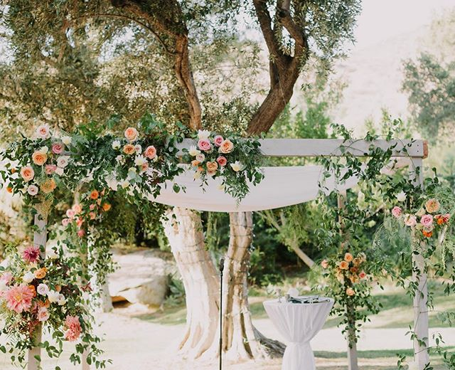 Ceremony flowers under the dreamiest trees at @hummingbirdnestranch  #wildmusefloral  Photo: @letsfrolictogether