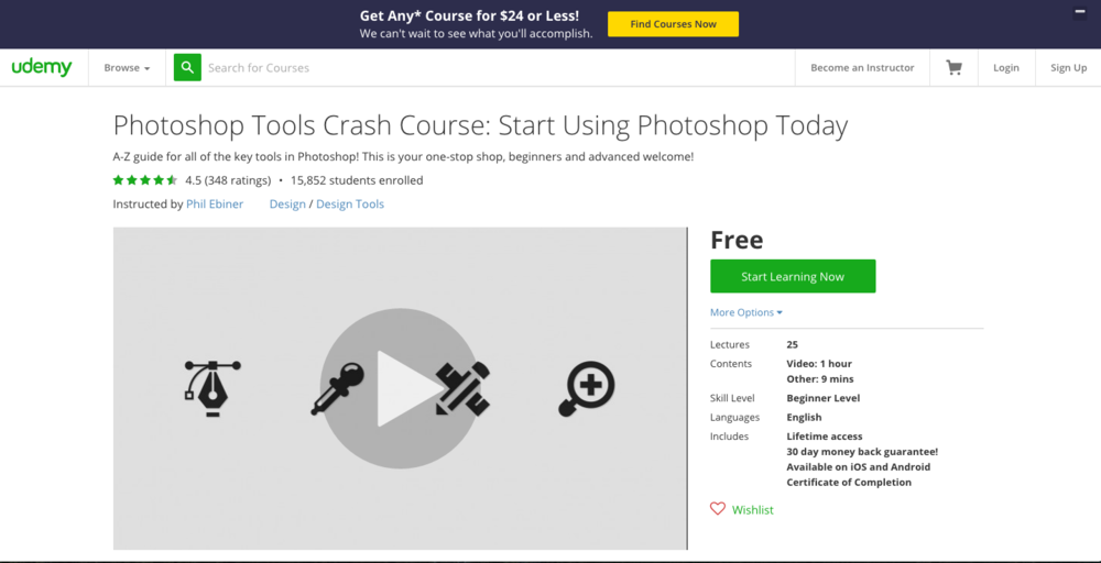 Photoshop Tools Crash Course on Udemy