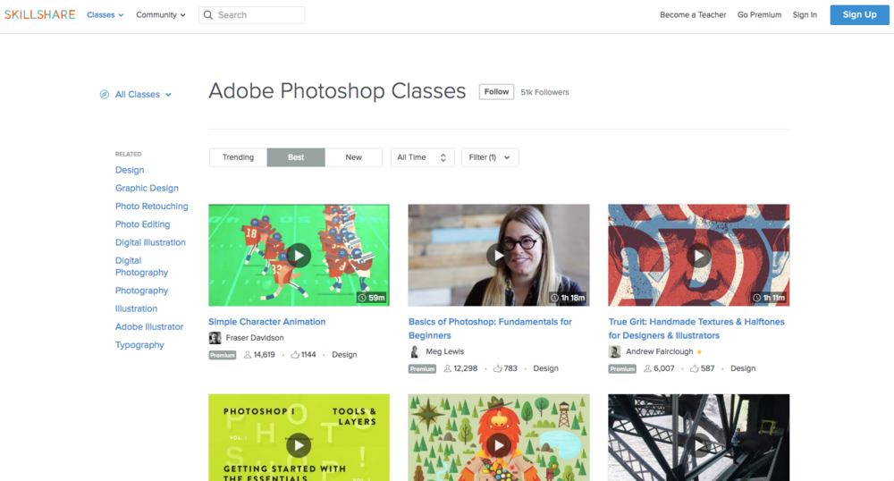 Overview of Adobe Photoshop Training available on Skillshare