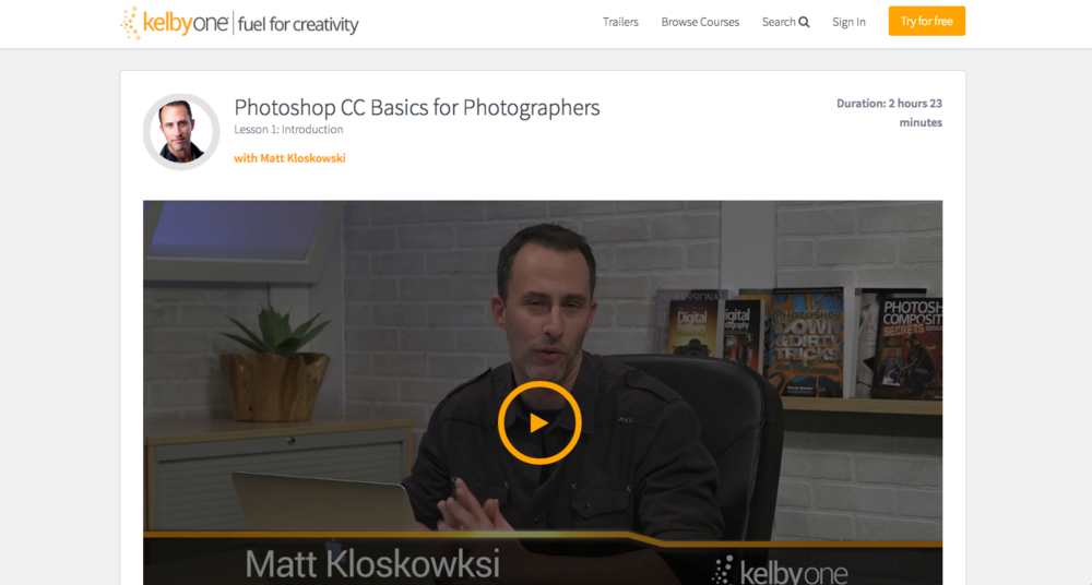 Photoshop CC Basics for Photographers Class on Kelby One
