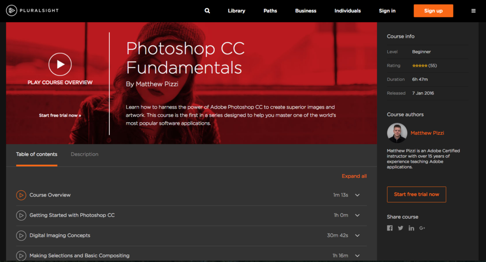 Photoshop CC Fundamentals Course on Plural Sight