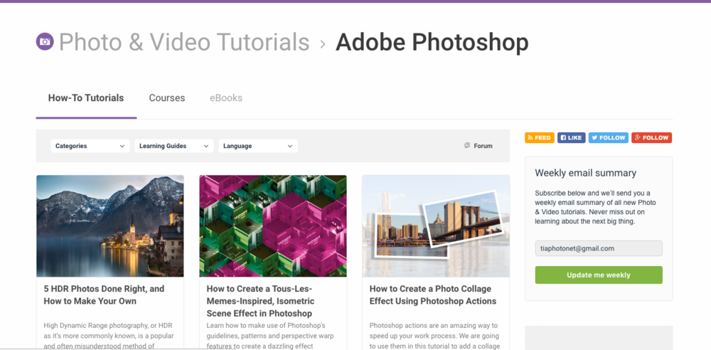 Tuts Plus Selection of Photoshop Tutorials