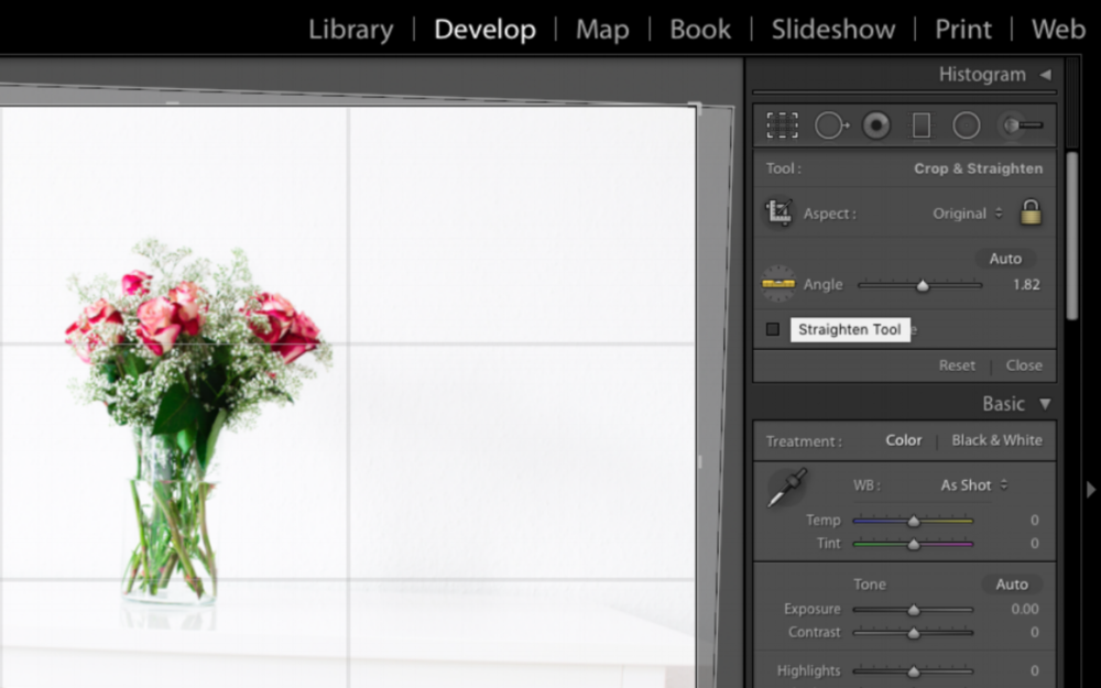 Straightening Tool In Adobe Lightroom