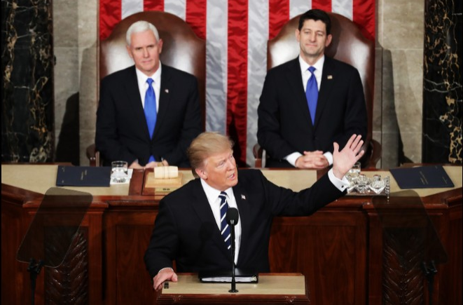 Photograph - Chip Somodevilla/Getty Images, CNN  Donald Trump delivers first speech to Congress