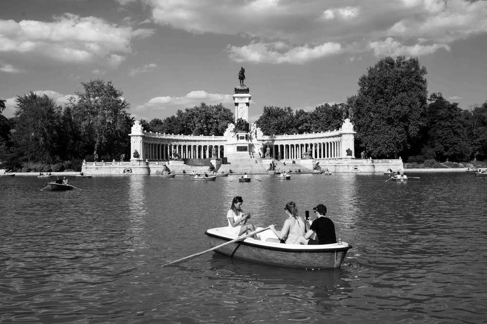 Row boats in El Retiro Park.