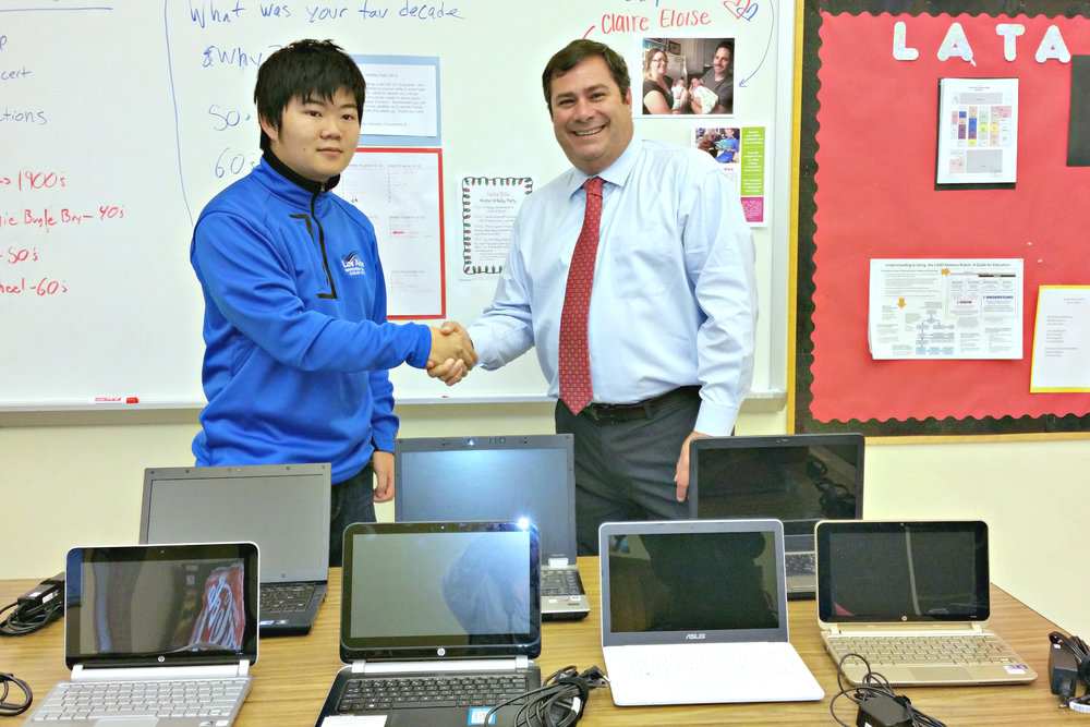 Terence Lee and Santa Rita Principal Greg Land (left to right)