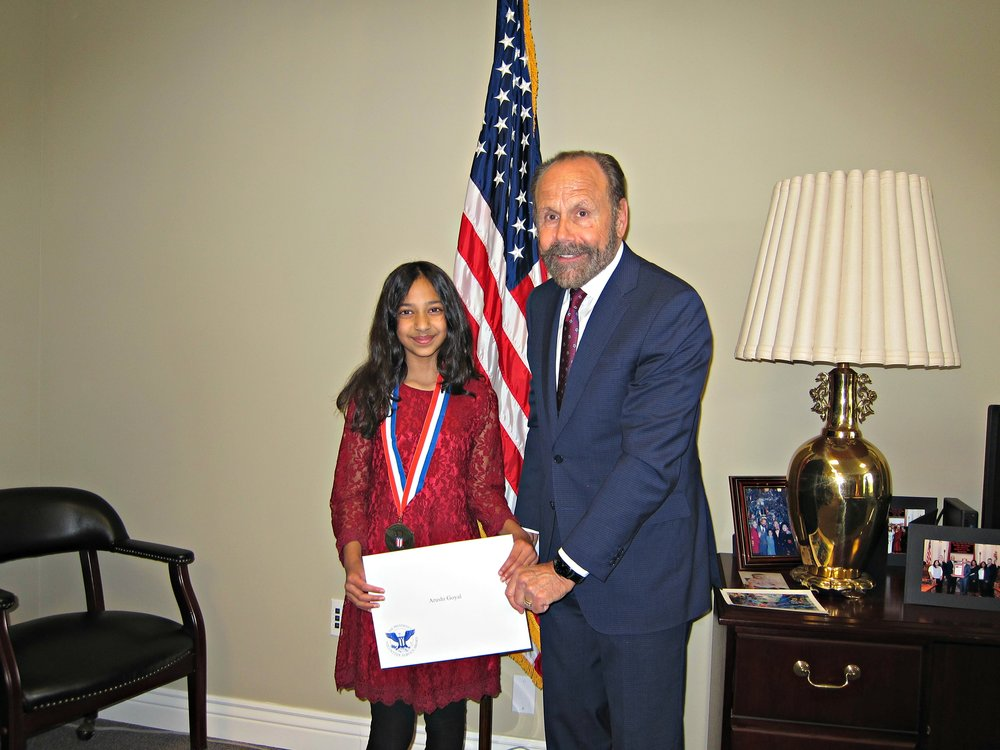 Arushi Goyal (left), Senator Jerry Hill