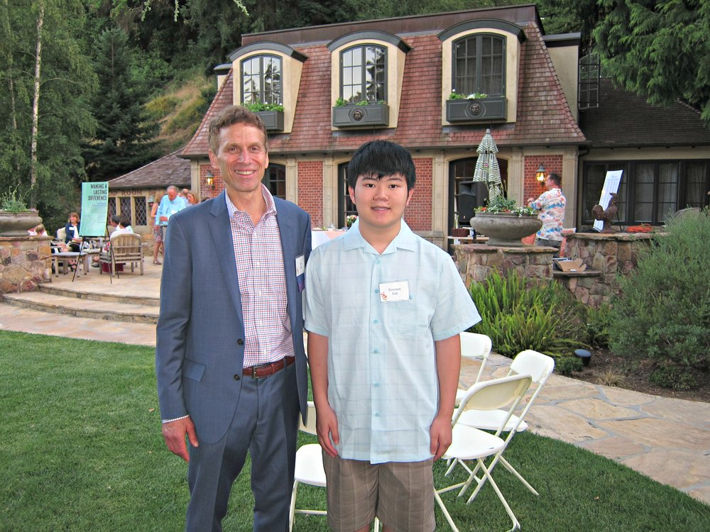 Joe Eyre, Executive Director LACF (left) and Terence Lee, EqOpTech Founder at 2017 Summer Solstice