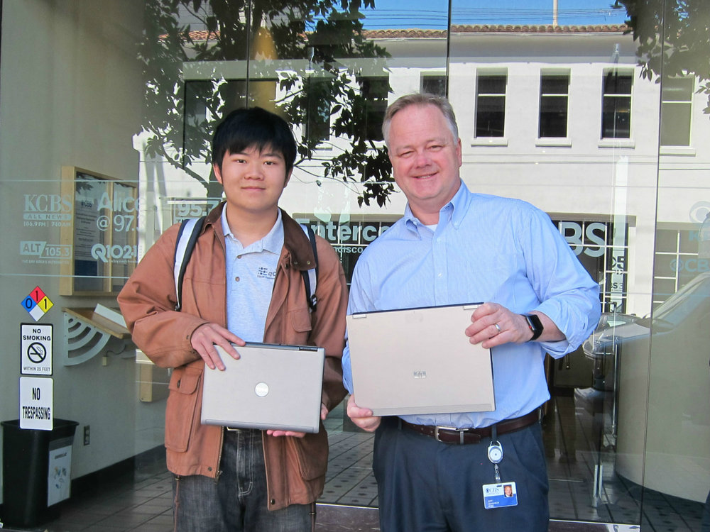 Jeff Jeandheur, KPIX 5 CBS, VP of Engineering (right) and Terence Lee, EqOpTech Founder