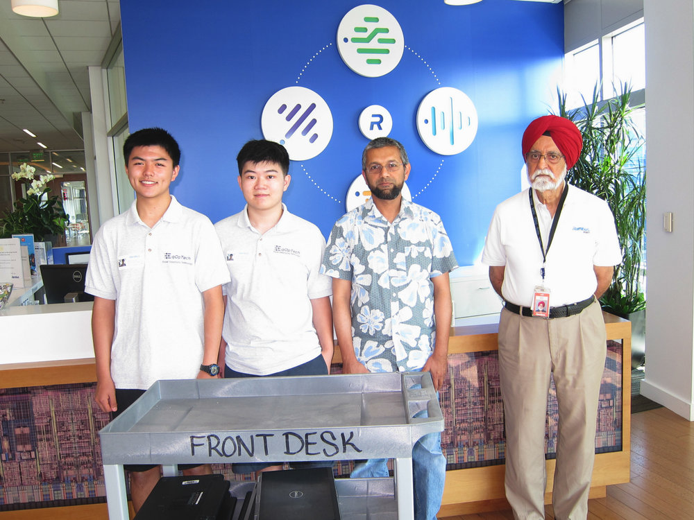 Kevin Gao (left) EqOpTech President, Terence Lee (EqOpTech Founder), Minhaj Shahab (Rambus), Ramesh Khanna (Rambus)