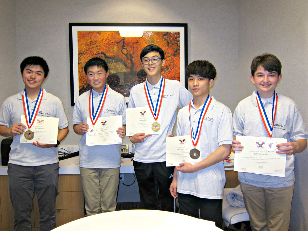 2018 PVSA Medalists - Kevin Gao, Eric Che, Daniel Lim, Nate Latif, Trevor Smith (left to right)