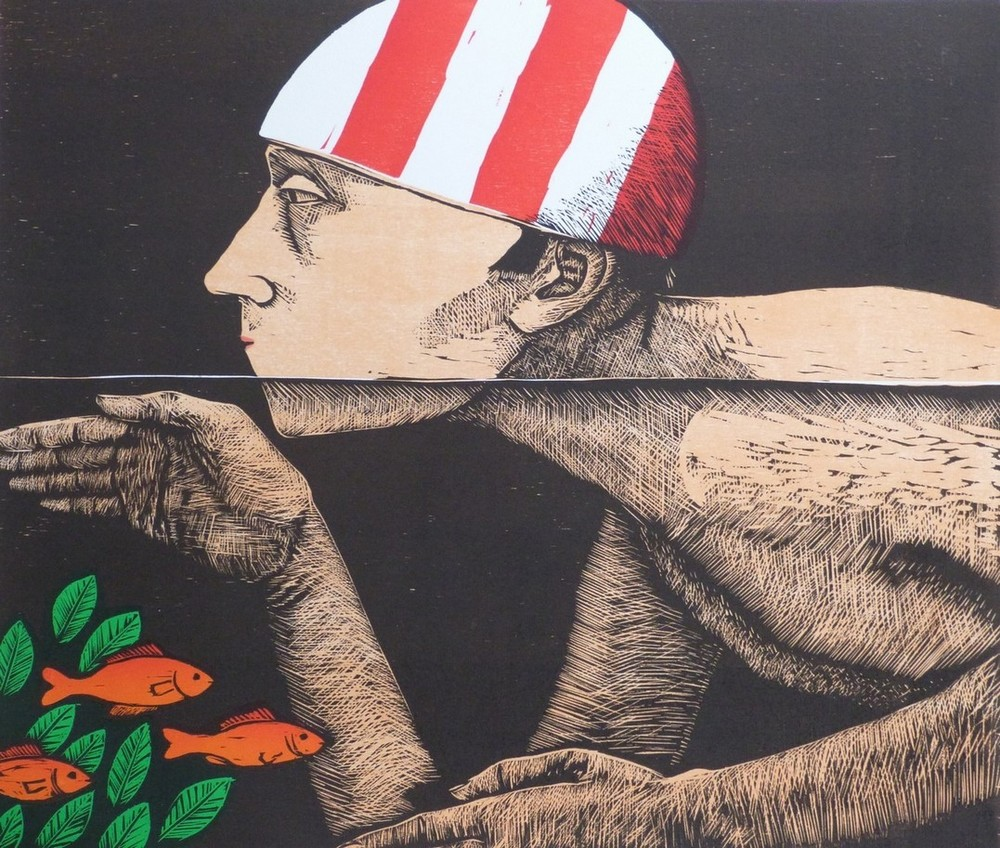 Frans Wesselman, Swimmer II, woodcut, 42x49 cm. ú300 - Copy.jpg