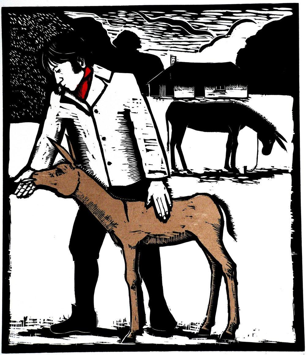 Mr. Coleridge, poet, and young ass, wood cut, 49x42 cm..JPG