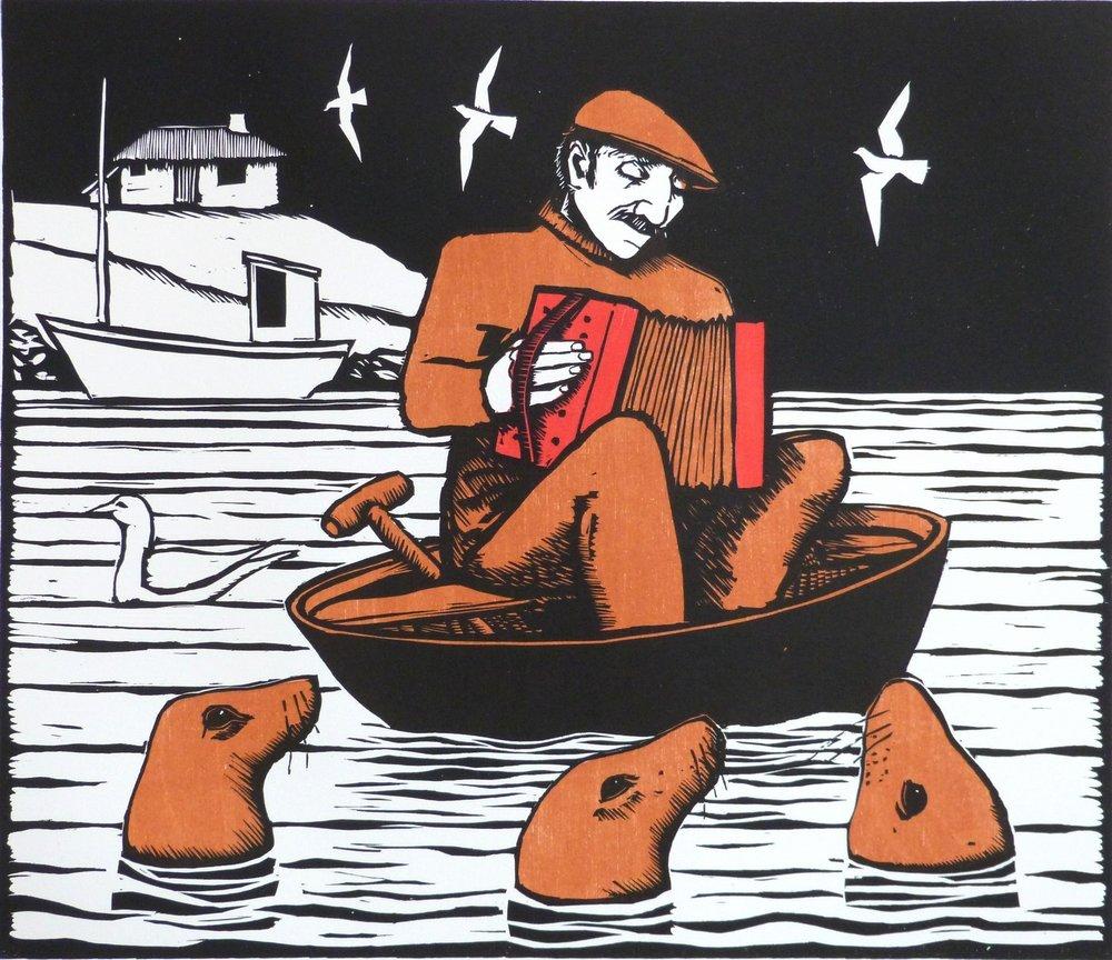 Music to the seals, wood cut, 42x49 cm..JPG