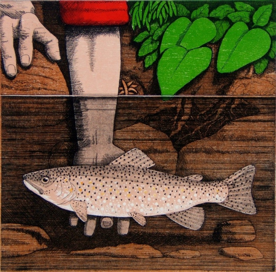 Tickling trout, etching with relief, 30x30 cm..JPG