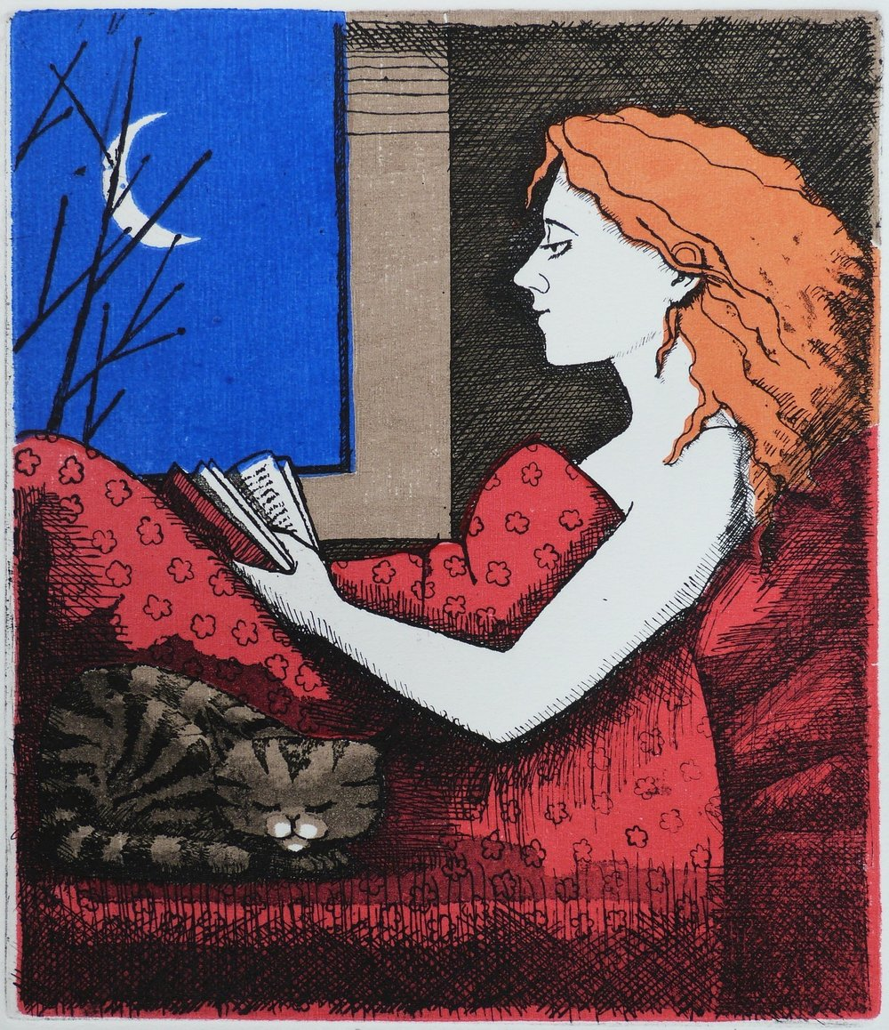 Reading with cat, etching with woodcut, 21x18 cm..JPG