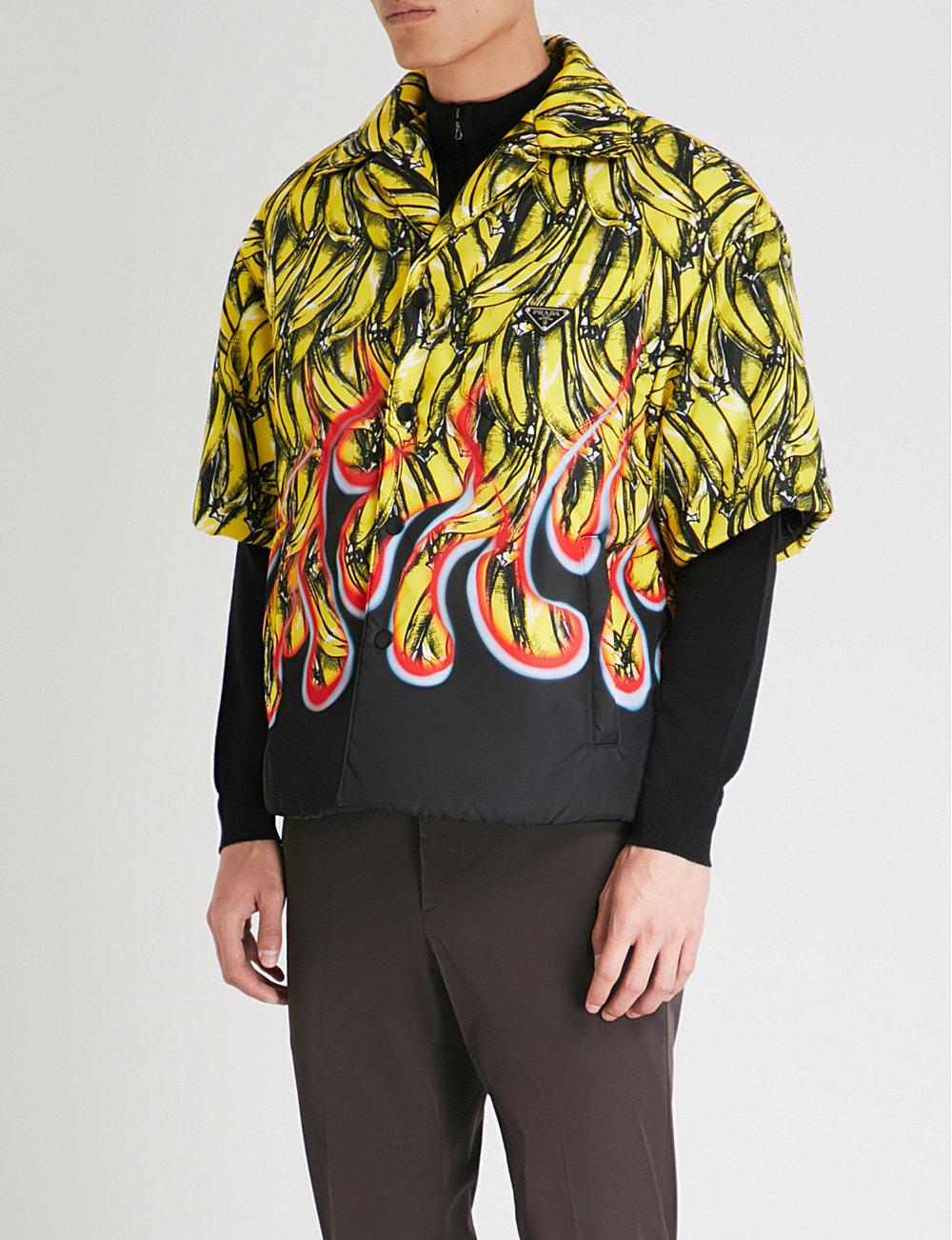 PRADA - Banana-print gabardine-shell shirt
