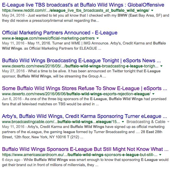Buffalo Wild Wings and E LEAGUE Google Results (Photo: Google)