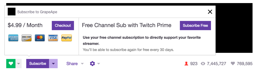 Twitch Prime Member Free Monthly Sub (Photo: Twitch)