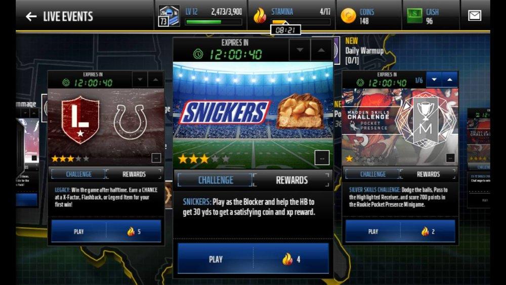 TNL eSports Brand Tracker 042: Snickers (Photo: EA Madden Mobile)