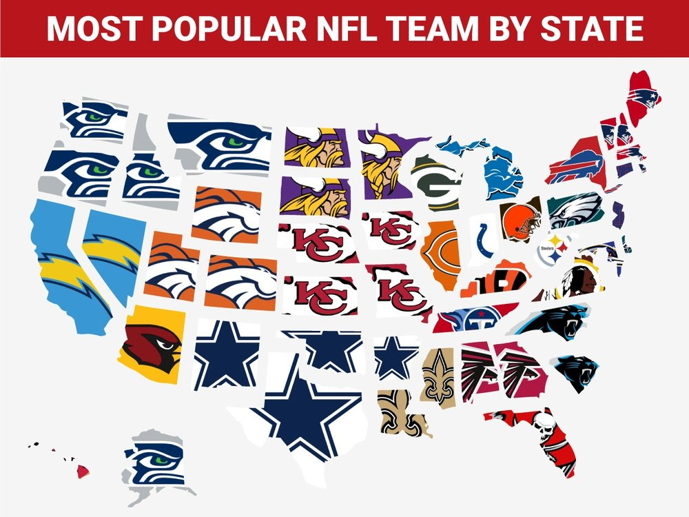 Most Popular NFL Teams By State (Graphic: Business Insider)