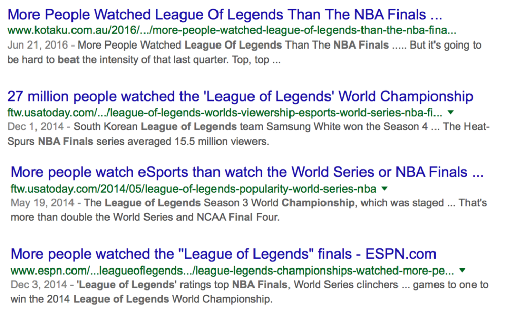 "Results For ""League of Legends Beats NBA Finals"" (Photo: Google)"