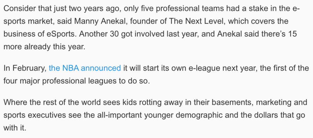Quote From USA Today On eSports In The Olympics (Photo: USA Today)