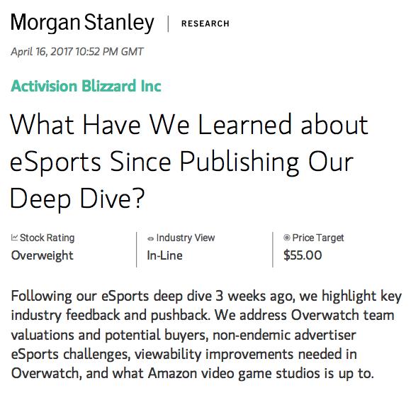 Morgan Stanley Update To Initial Overwatch League Report (Photo: Morgan Stanley)