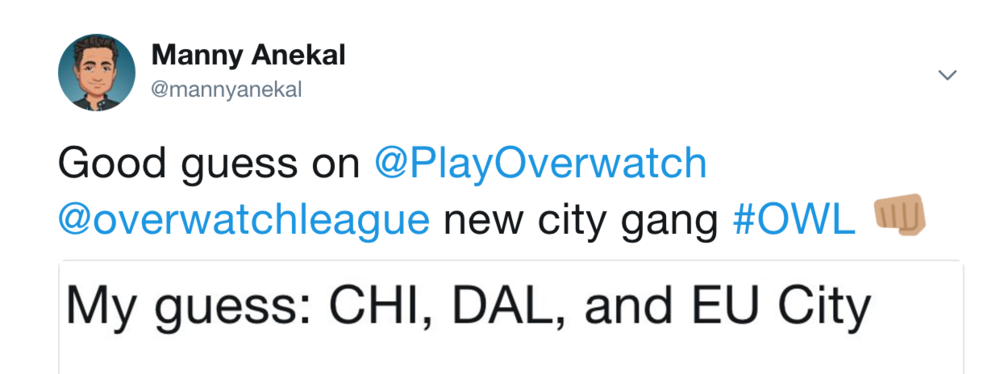Sunday AM Aug7: Activision Blizzard to Confirm Additional Cities (Photo: Twitter)