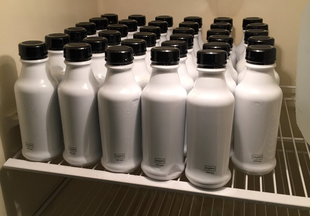 """Fridge Full of Soylent (Photo: YouTube """"Life After Food"""")"""