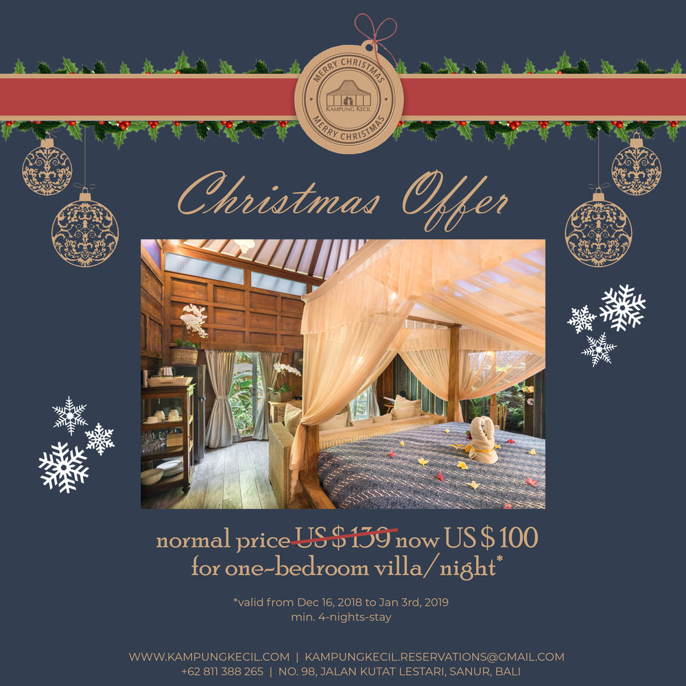 *UP TO 30% OFF*    Enjoy Christmas or New Year's Eve in one of our 1- or 2-bedroom villas incl. breakfast, airport transfer and Sanur area shuttle. Price starting from US $ 100 per night.*    *valid from Dec 16, 2018 to Jan 3rd, 2019 for a min. 4-nights-stay