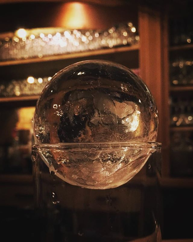 Crystal gazing, hoping my Old Fashioned will reveal the future #clearice #cocktails #molecularmixology