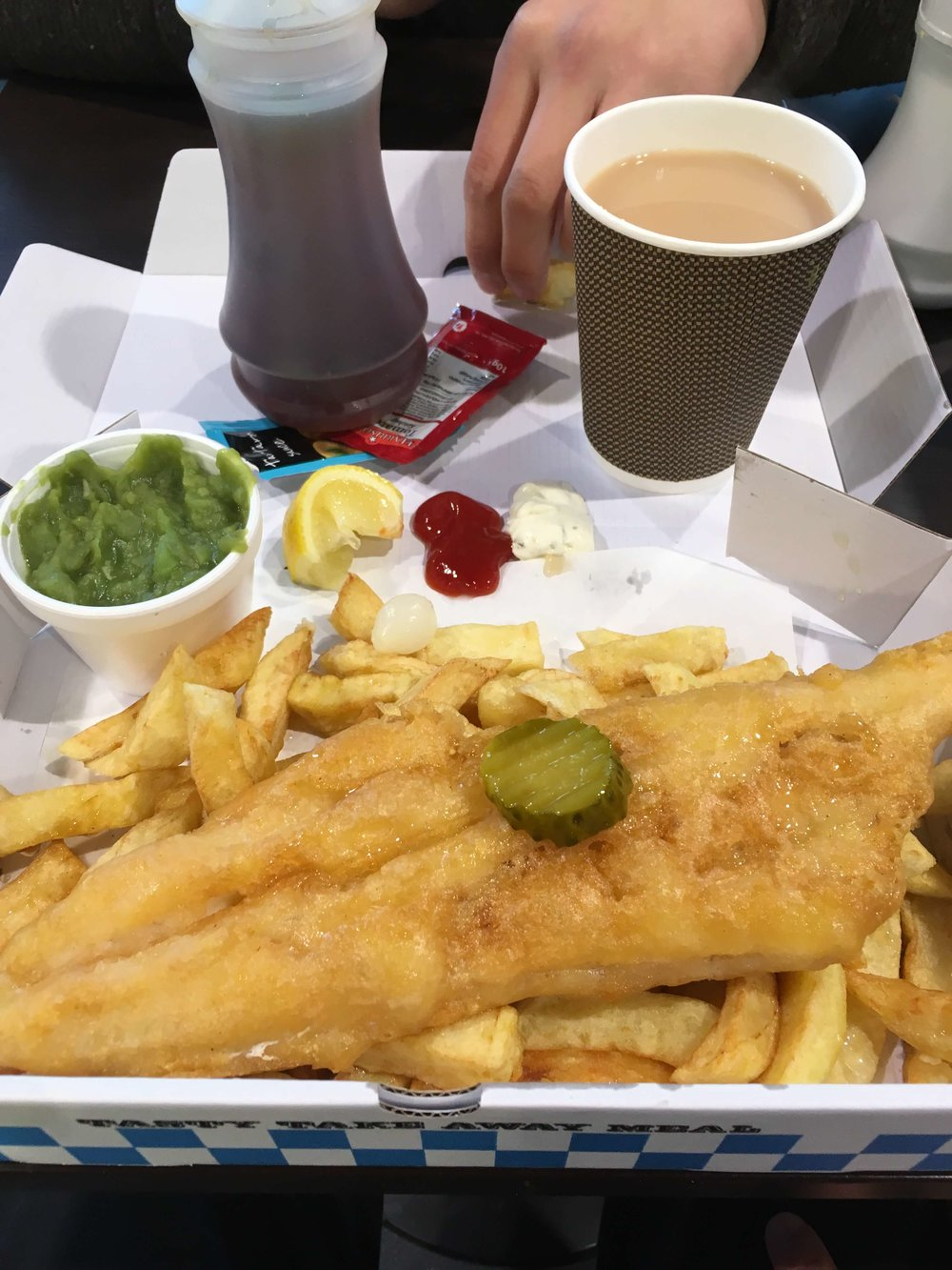 Scousy Fish'n'Chips with mushy peas next to the Tate Liverpool.