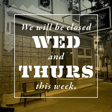 Alas! Our little building is getting a facelift, and we need a little extra time to prepare. We will see you this Friday for dinner starting at 5:30, and we will be launching our new menu to celebrate. #fireinourhearts