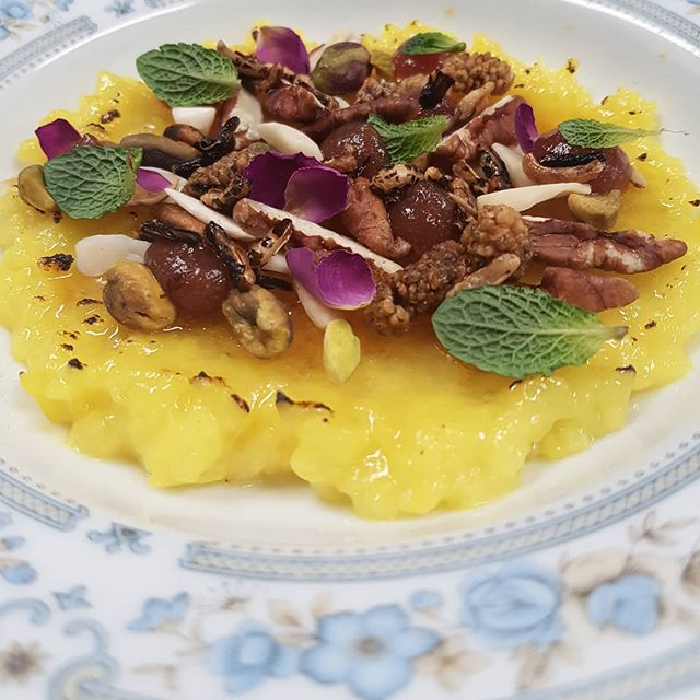 Loose and yellow. A traditional Persian dessert reinterpreted.  #fireinourhearts