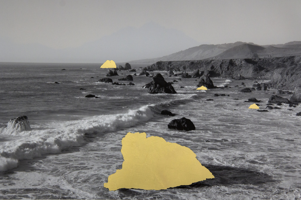 Goat Rock Beach, Sonoma County Coast, CA, digital pigment print with 22K gold leaf