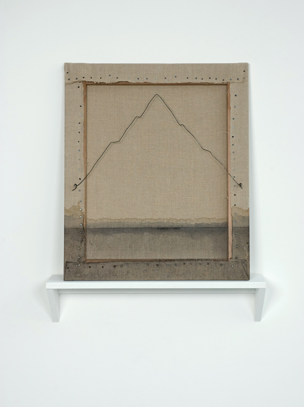 "The Back 40, 2012, linen, wood, wire, and dye, 26.5"" x 22"""
