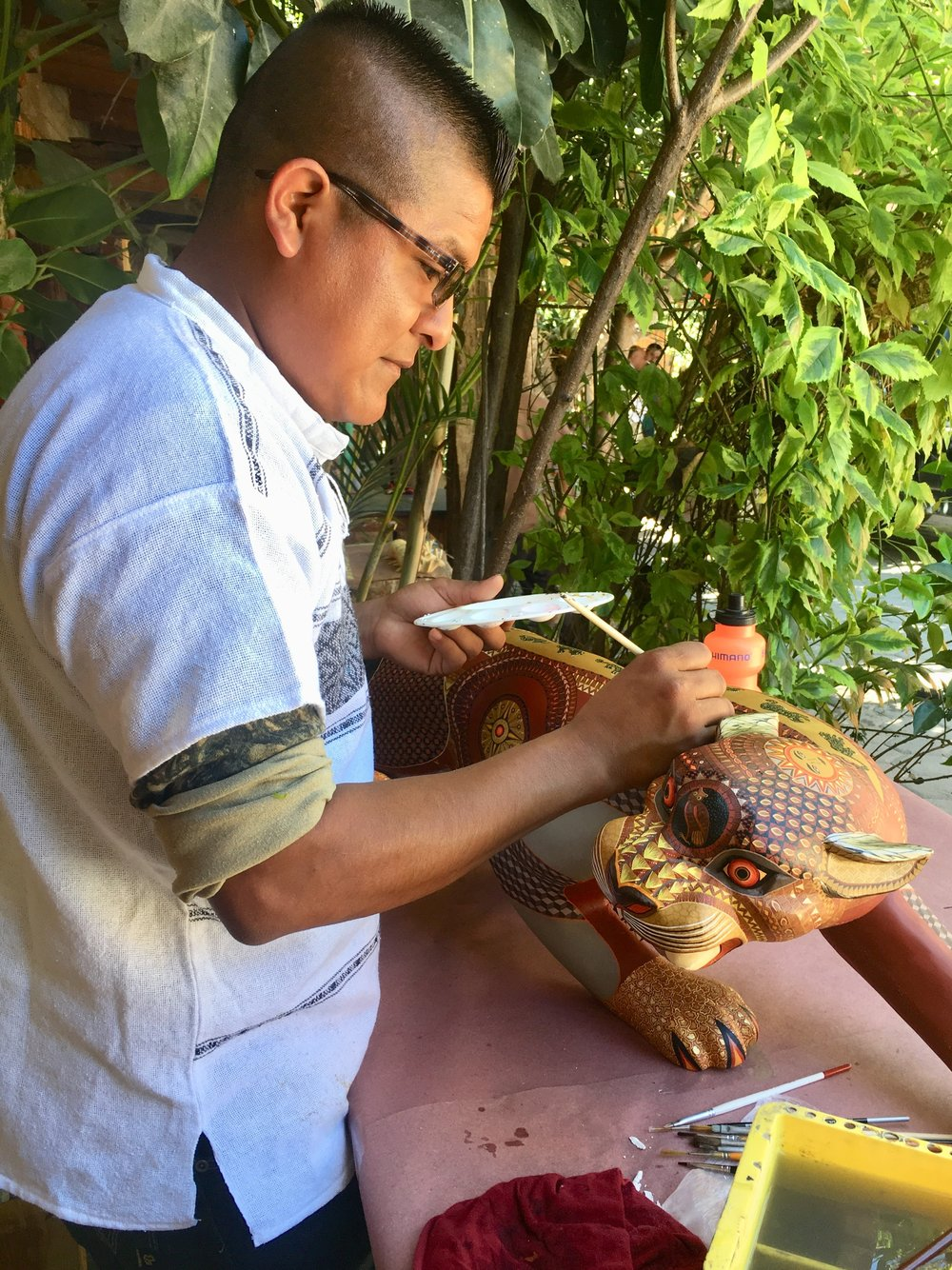 Local woodwork artist Oaxaca Mexico