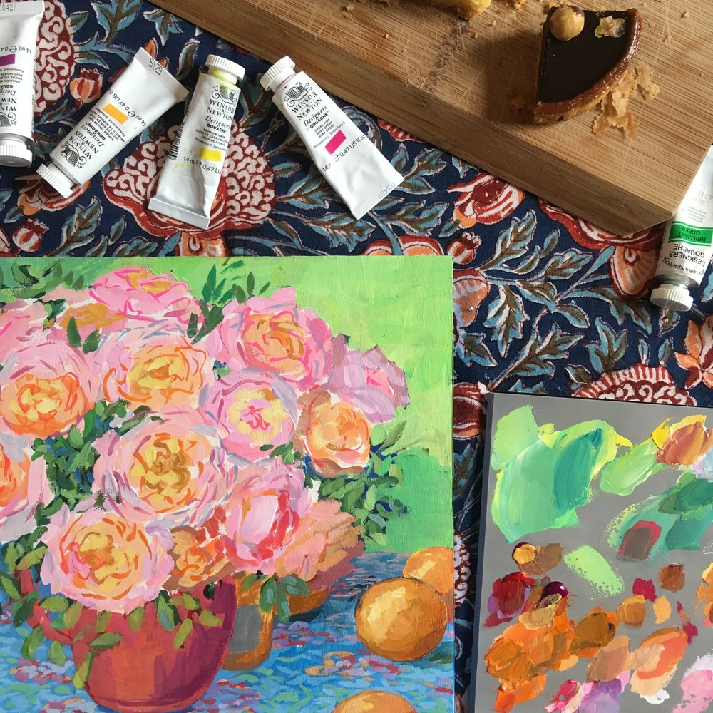 An in-progress shot of a painting I made on a trip with Elizabeth, now in Linda's collection.