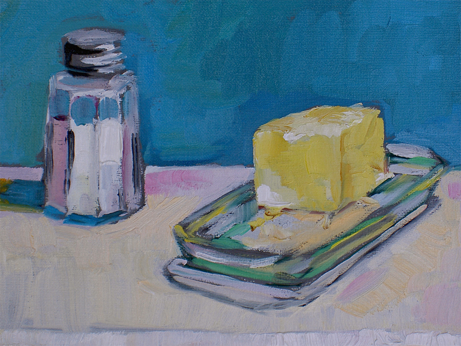 """Tiller:Another favorite painting of mine is your Butter and Salt; when I bought it one of my kids said """"Mom, if it had a bowl of sugar it would be your 3 favorite foods!"""" - Margaret Owen, Butter and Salt."""