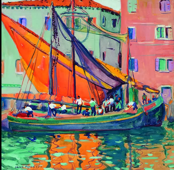 Jane Peterson,  Orange Sail, Venice,  from the show  Jane Peterson:  At Home and Abroad   at the Mattatuck Museum.